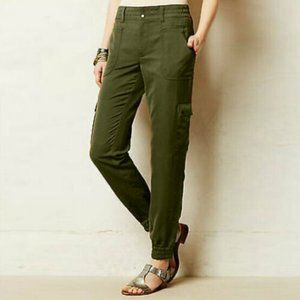 Elevenses | Green Satin Cargo Jogger Pants